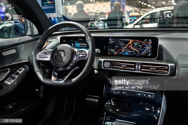 Mercedes-Benz EQC 400 4MATIC full electric compact luxury SUV car interior on display at Brussels Expo on January 9, 2020 in Brussels, Belgium. The...
