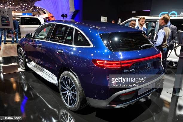 MercedesBenz EQC full electric compact luxury SUV car on display at Brussels Expo on JANUARY 09 2020 in Brussels Belgium The EQC is the first car of...