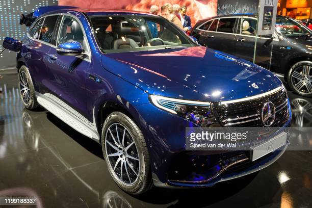 Mercedes-Benz EQC full electric compact luxury SUV car on display at Brussels Expo on January 9, 2020 in Brussels, Belgium. The EQC is the first car...