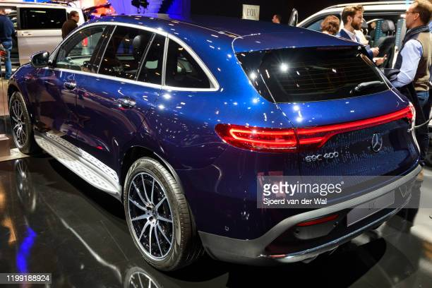 MercedesBenz EQC full electric compact luxury SUV car on display at Brussels Expo on January 9 2020 in Brussels Belgium The EQC is the first car of...