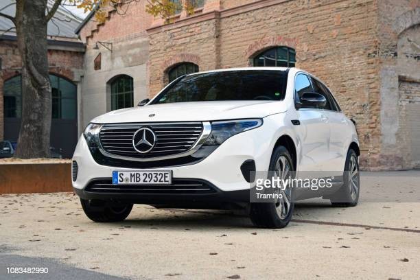 mercedes-benz eqc on the parking - alternative fuel vehicle stock pictures, royalty-free photos & images