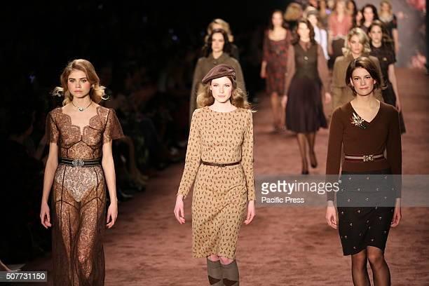 MercedesBenz Fashion Week Autum / Winter 2016 in Berlin A model presents collection of Lena Hoschek