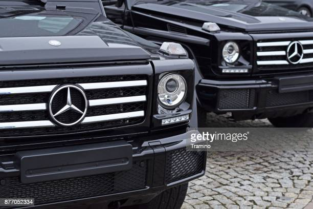 Mercedes-Benz G500 vehicles parked in a row