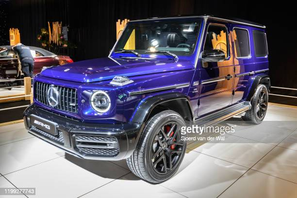 MercedesBenz GClass G 63 AMG on display at Brussels Expo on January 8 2020 in Brussels Belgium The MercedesAMG G 63 is fitted with a 40liter...
