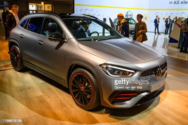 MercedesBenz GLA compact crossover SUV car on display at Brussels Expo on JANUARY 09 2020 in Brussels Belgium The new GLAclass can be equipped with...