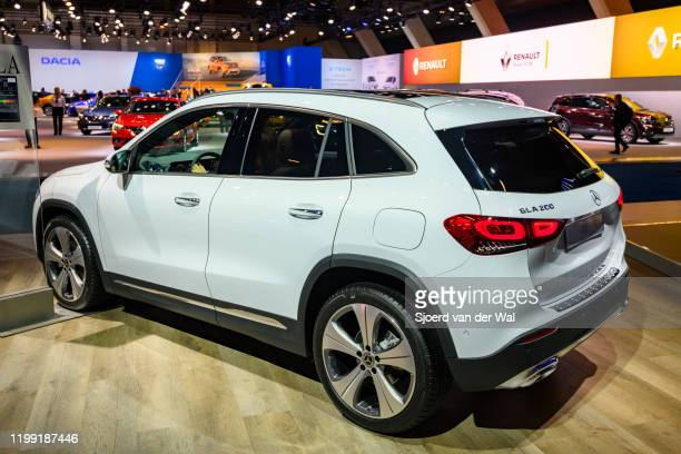 Mercedes-Benz GLA compact crossover SUV car on display at Brussels Expo on January 9, 2020 in Brussels, Belgium. The new GLA-class can be equipped...
