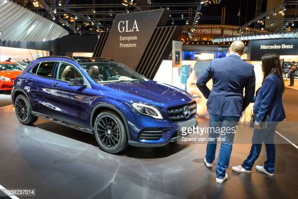 MercedesBenz GLAClass GLA 180 d compact crossover SUV on display at Brussels Expo on January 13 2017 in Brussels Belgium The MercedesBenz GLAClass is...