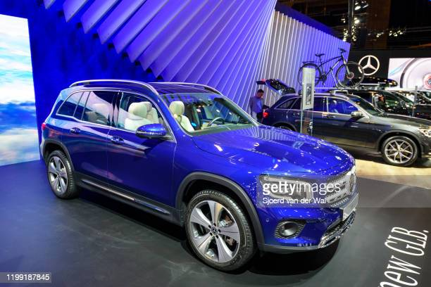 Mercedes-Benz GLB Class subcompact crossover SUV car on display at Brussels Expo on January 9, 2020 in Brussels, Belgium. The new GLB-class can be...
