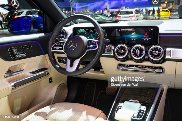 Mercedes-Benz GLB Class subcompact crossover SUV interior on display at Brussels Expo on January 9, 2020 in Brussels, Belgium. The new GLB-class can...