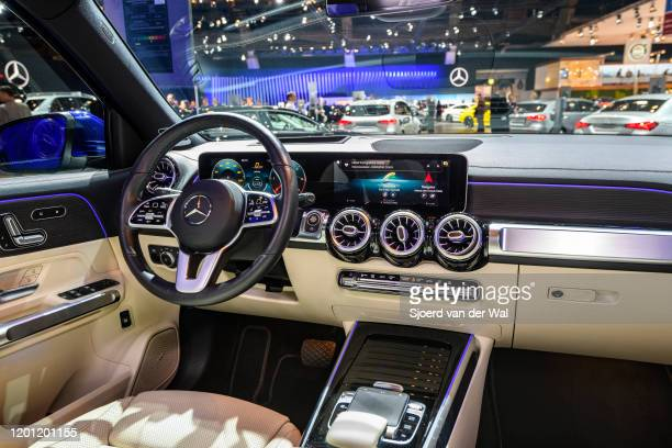 MercedesBenz GLB Class subcompact crossover SUV interior on display at Brussels Expo on January 9 2020 in Brussels Belgium The new GLBclass can be...