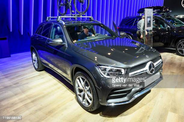 Mercedes-Benz GLC Class luxury crossover SUV car on display at Brussels Expo on January 9, 2020 in Brussels, Belgium. The new GLC-class can be...
