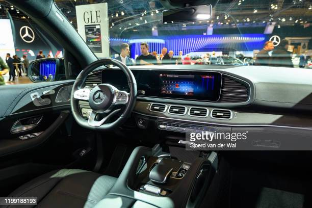 Mercedes-Benz GLE Class luxury crossover SUV car on display at Brussels Expo on January 9, 2020 in Brussels, Belgium. The new GLE-class can be...