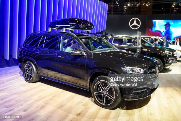 Mercedes-Benz GLS Class luxury crossover SUV car on display at Brussels Expo on January 9, 2020 in Brussels, Belgium. The new GLS-class can be...