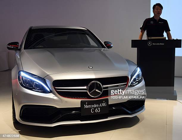 MercedesBenz Japan president and CEO Kintaro Ueno explains the company's new MercedesAMG C63 S Edition 1 during its press preview in Tokyo on May 27...