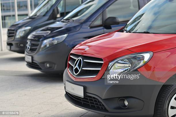 mercedes-benz lcv vehicles in a row - mercedes stock photos and pictures