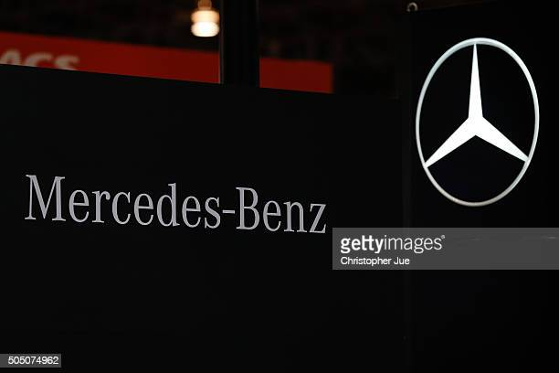 MercedesBenz logo is shown on display at the 2016 Tokyo Auto Salon car show on January 15 2016 in Chiba Japan TOKYO AUTO SALON 2016 is held from...