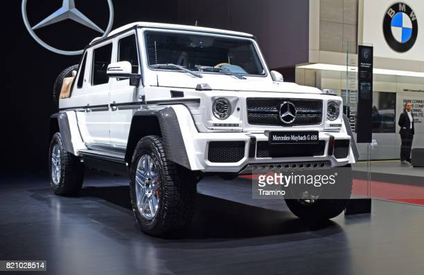 mercedes-benz maybach g650 landaulet on the motor show - mercedes benz g class stock pictures, royalty-free photos & images