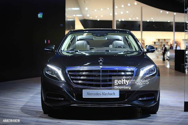 A MercedesBenz Maybach luxury automobile sits on display at the MercedesBenz AG exhibition stand ahead of the IAA Frankfurt Motor Show in Frankfurt...