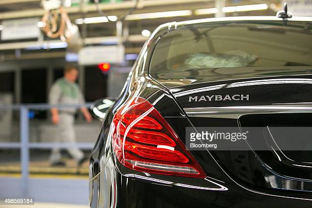 A MercedesBenz Maybach luxury automobile sits on the final assembly line at Daimler AG's MercedesBenz factory in Sindelfingen Germany on Monday Nov...