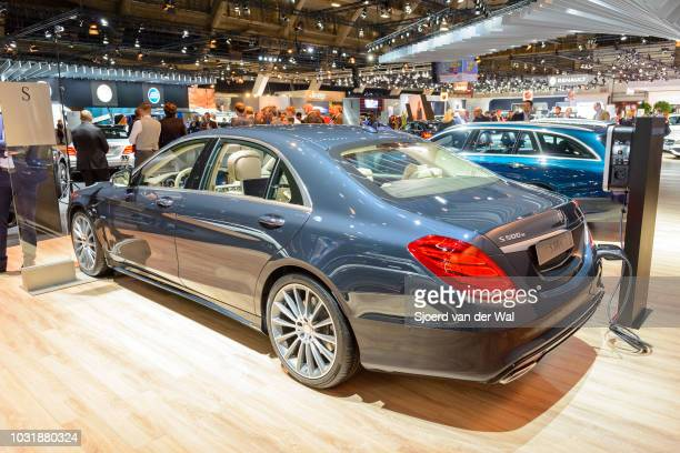 MercedesBenz S500e Plugin Hybrid luxury limousine sedan The car is on display at Brussels Expo on January 9 2017 in Brussels Belgium