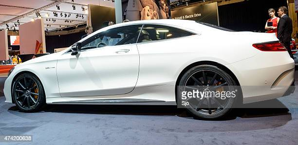 mercedes-benz s-class coupe luxury car side view - mercedes benz s class stock photos and pictures