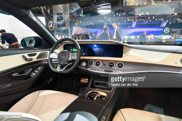 MercedesBenz SClass S560e 4MATIC Plugin hybrid sedan luxury limousine interior on display at Brussels Expo on January 9 2020 in Brussels Belgium The...