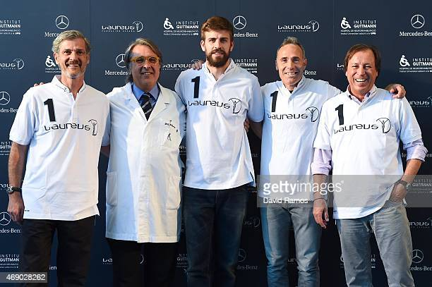 MercedesBenz Spain Communication Director Enrique Aguirre Institut Guttmann Director Doctor Josep M Ramirez FC Barcelona player and Laureus...