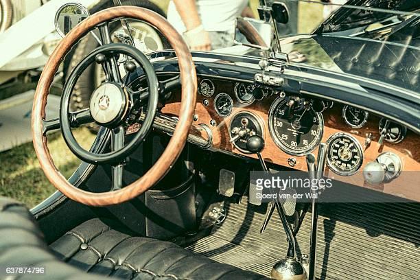"mercedes-benz ssk sport convertible classic 1920s car interior - ""sjoerd van der wal"" stock pictures, royalty-free photos & images"