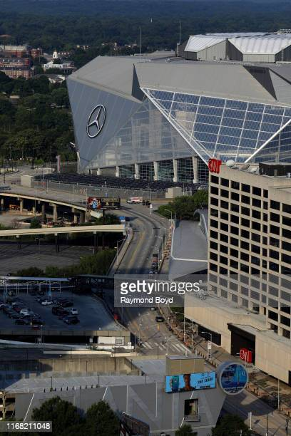 MercedesBenz Stadium home of the Atlanta Falcons football team and Atlanta United FC soccer team and CNN Center in Atlanta Georgia on July 27 2019