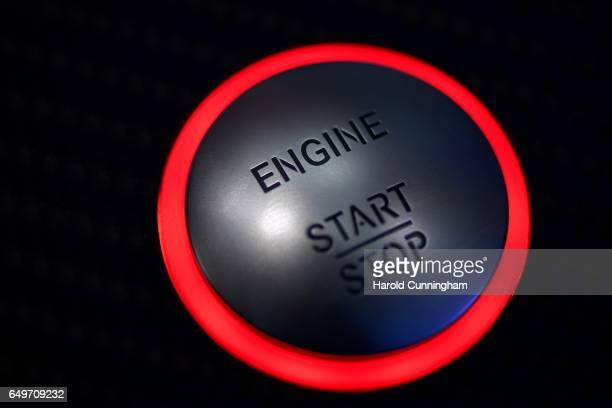 MercedesBenz start and stop engine button is seen during the 87th Geneva International Motor Show on March 8 2017 in Geneva Switzerland The...