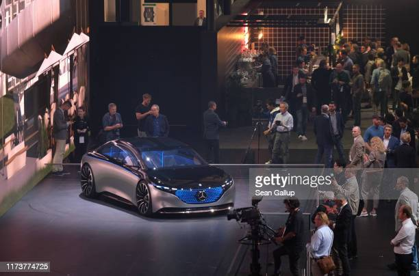 Mercedes-Benz Vision EQS concept car stands on display during the press days at the 2019 IAA Frankfurt Auto Show on September 11, 2019 in Frankfurt...