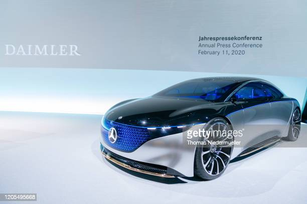 Mercedes-Benz Vision EQS is displayed at Daimler's annual press conference to announce financial results for 2019 on February 11, 2020 in Stuttgart,...