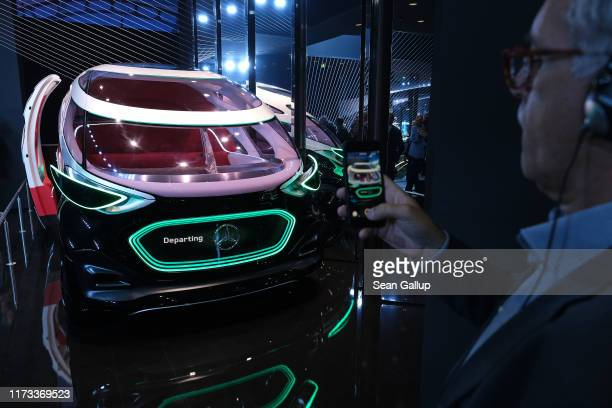MercedesBenz Vision Urbanetic autonomous electric passenger car stands on display at the MercedesBenz media preview at the 2019 IAA Frankfurt Auto...