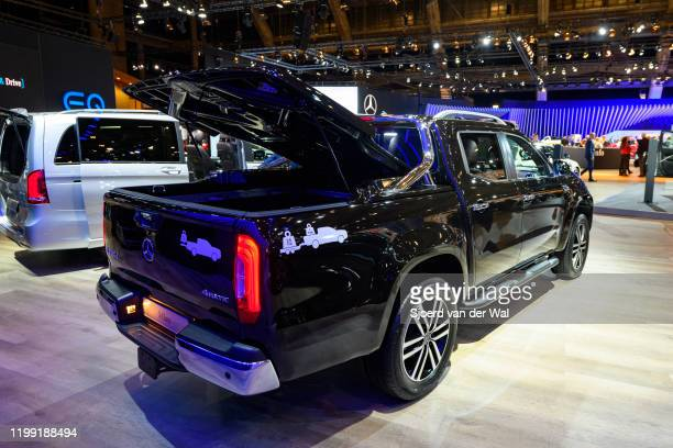 Mercedes-Benz X Class luxury pick-up truck on display at Brussels Expo on January 9, 2020 in Brussels, Belgium. The X-class is marketed as a...