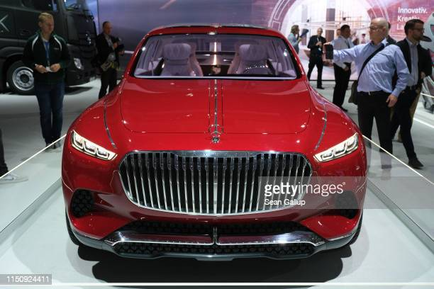 Mercedes-Maybach luxury SUV stands among vehicles on display at the annual Daimler AG shareholders meeting on May 22, 2019 in Berlin, Germany....