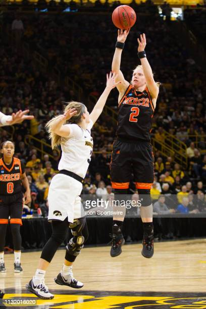 Mercer Bears forward Amanda Thompson attempts a field goal during the NCAA Division I Women's Championship first round college basketball game...