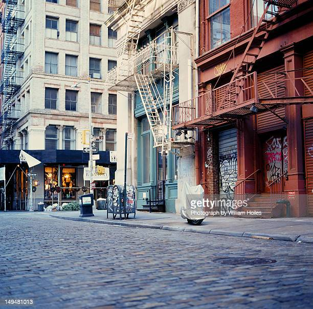 mercer street in morning - pavement stock pictures, royalty-free photos & images