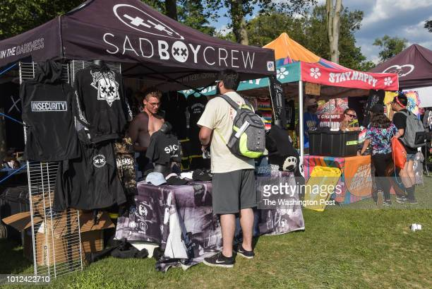 Merch booths at Warped Tour Sunday located at Merriweather Post Pavilion