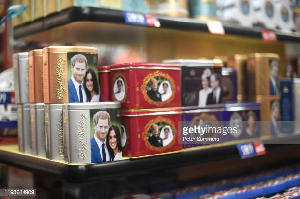 Merchandise featuring Prince Harry Duke of Sussex and Meghan Duchess of Sussex is seen on sale on January 14 2020 in London England The Duke and...