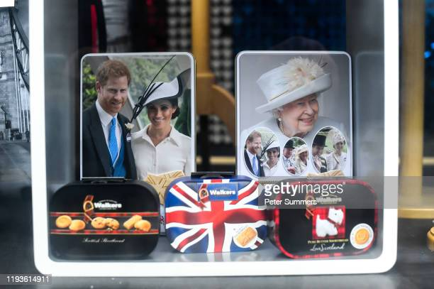 Merchandise featuring Prince Harry, Duke of Sussex and Meghan, Duchess of Sussex and the Royal Family is seen on sale on January 14, 2020 in London,...
