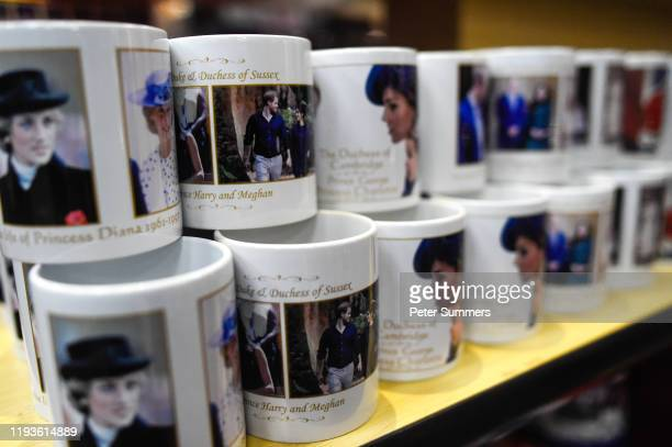 Merchandise featuring the Royal Family is seen on sale on January 14, 2020 in London, England. The Duke and Duchess of Sussex have announced that...