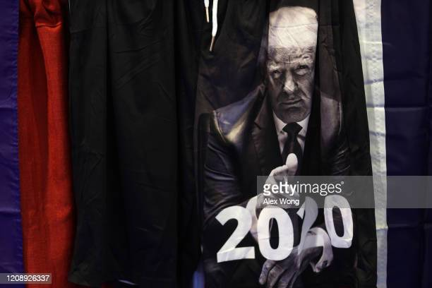 Merchandise featuring US President Donald Trump is seen at the annual Conservative Political Action Conference at Gaylord National Resort Convention...