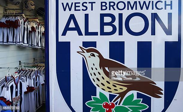 Merchandise for sale inside the West Bromwich Albion club store prior to the Barclays Premier League match between West Bromwich Albion and...