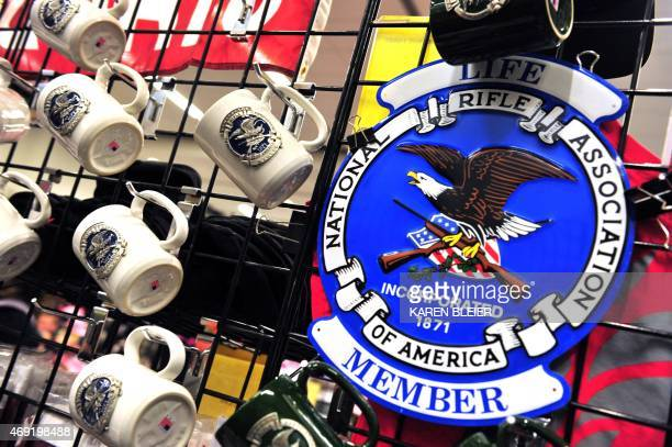 Merchandise for sale is displayed at the 2015 NRA Annual Convention in Nashville Tennessee on April 10 2015 AFP PHOTO / KAREN BLEIER / AFP PHOTO /...