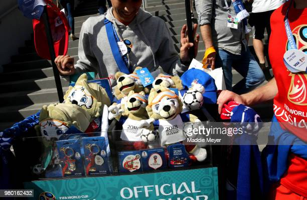 e7eff6733 Merchandise for sale prior to during the 2018 FIFA World Cup Russia group C  match between