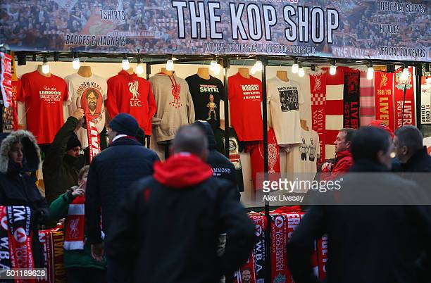 Merchandise for sale prior to the Barclays Premier League match between Liverpool and West Bromwich Albion at Anfield on December 13 2015 in...