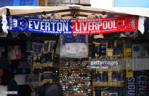 Merchandise for sale prior to the Premier League match between Everton FC and Liverpool FC at Goodison Park on March 03 2019 in Liverpool United...