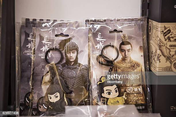 Merchandise from the movie 'The Great Wall' is displayed for sale at an Mtimecom Inc kiosk in Beijing China on Thursday Nov 24 2016 Mtime the movie...