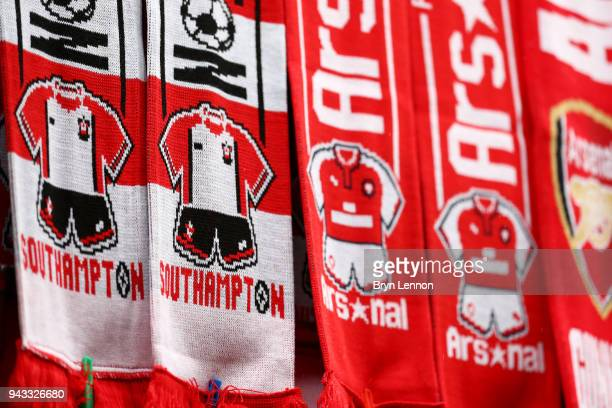 Merchandise is for sale ahead of the Premier League match between Arsenal and Southampton at Emirates Stadium on April 8 2018 in London England