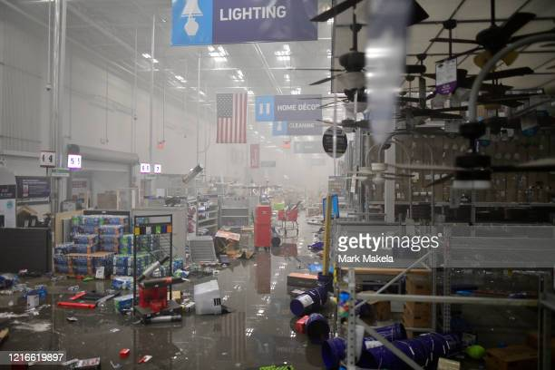 Merchandise is left in disarray in a looted hardware store during widespread unrest following the death of George Floyd on May 31 2020 in...
